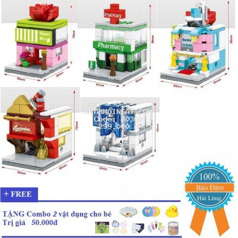 Xếp hình lego, khu mua sắm mini